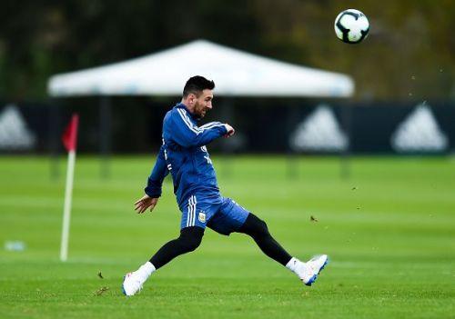 Lionel Messi at Argentina's training session