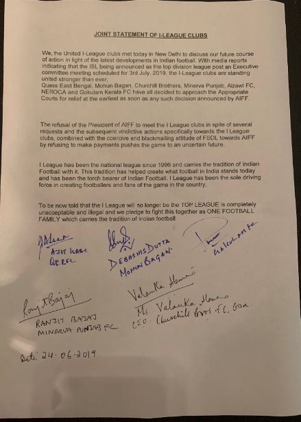 Joint Statement of the I-League clubs