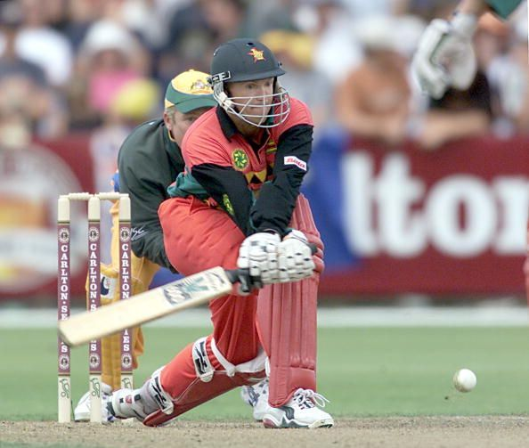 Andy Flower is seen essaying his famous reverse sweep