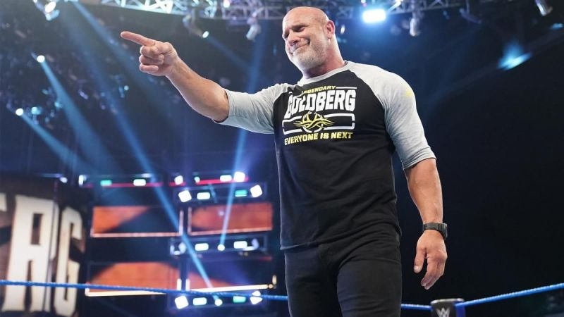 Goldberg reacts after going face to face with The Phenom