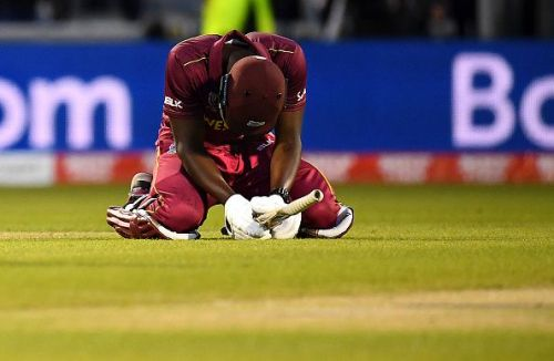Carlos Brathwaite is distraught after his heroics failed to secure Windies a win.