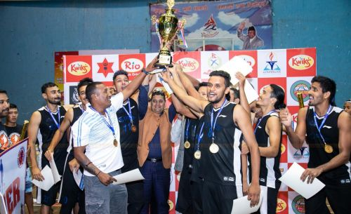 Victorious Times International Club with Nepal Basketball League 2019 trophy