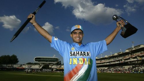 Ganguly with the Natwest Trophy