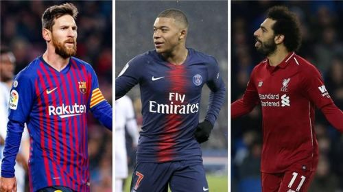 Barcelona's Lionel Messi, Paris Saint Germain's Kylian Mbappe and Liverpool's Mohamed Salah
