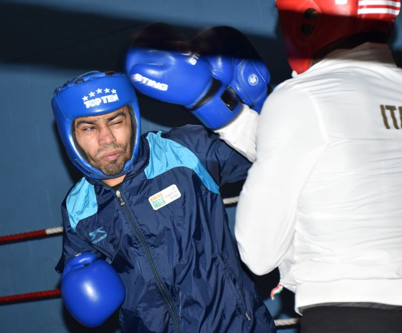 Amit Panghal in action against Italian boxer during the ongoing 7 Nationals Training and exposure camp in Belfast, Ireland.