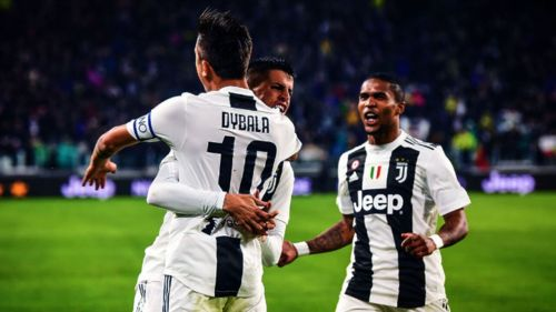 Paulo Dybala, Joao Cancelo and Douglas Costa of Juventus