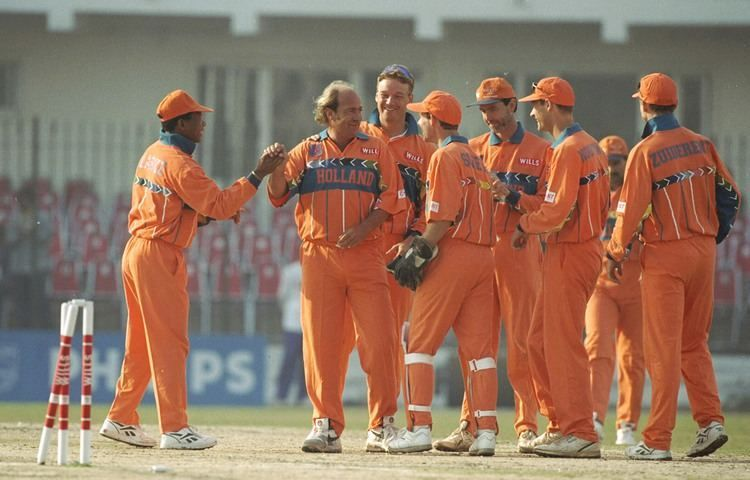 Nolan Clarke (2nd from right) is the oldest man to play in the Cricket World Cup