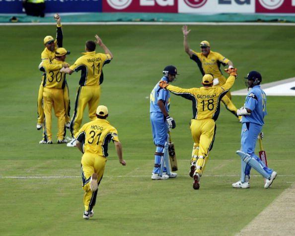 The final wicket of Zaheer Khan of India, caught by Darren Lehmann