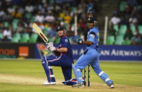 Andrew Flintoff scored 64 in adversity against India.