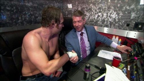 Things weren't always tetchy between Ambrose and Mr McMahon