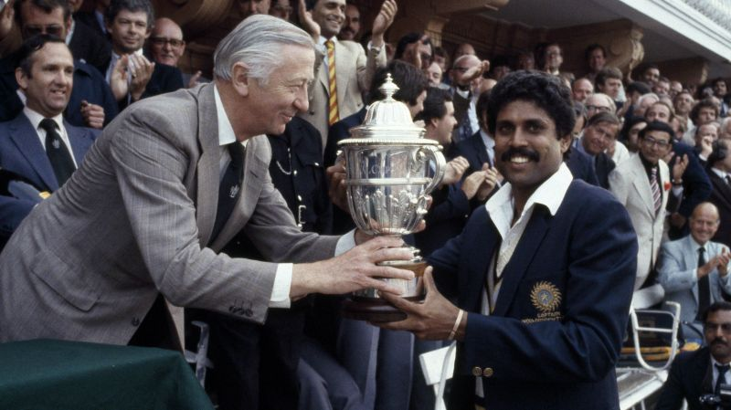 25th June 1983 - Kapil Dev lifts the Prudential World Cup for India