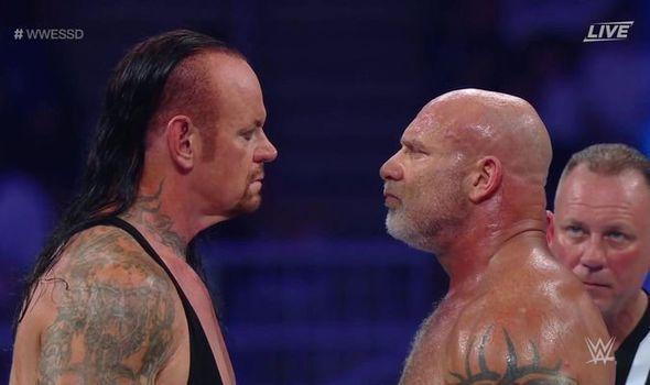 The Undertaker and Goldberg at WWE Super Showdown.
