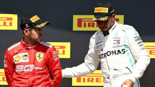 Lewis Hamilton and Sebastian Vettel on the podium in Montreal