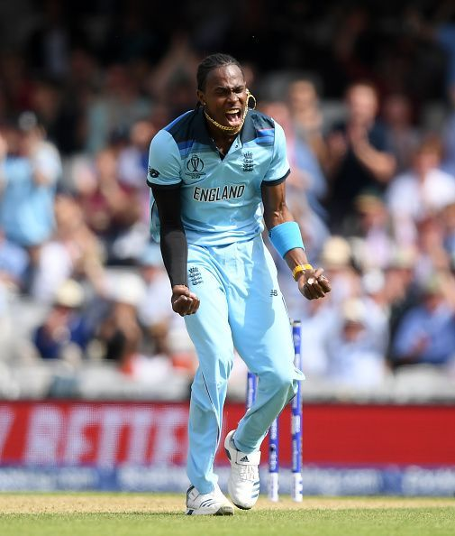 Jofra Archer passionately celebrating a wicket against South Africa