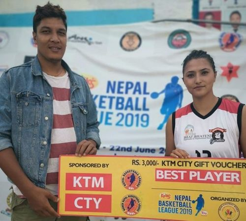 Sadina Shrestha (R) of Samriddhi Gorillas was declared the player of the match for her sterling performance on the night