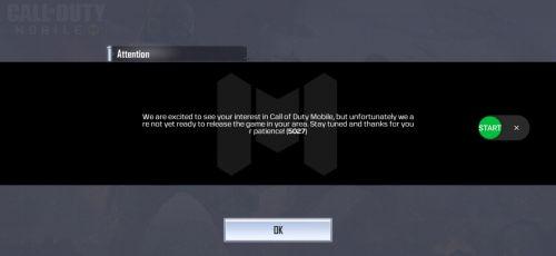 Call of Duty: Mobile Error code 5027