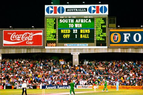 The iconic scorecard showing the updated target for SA as per the questionable rain-rule