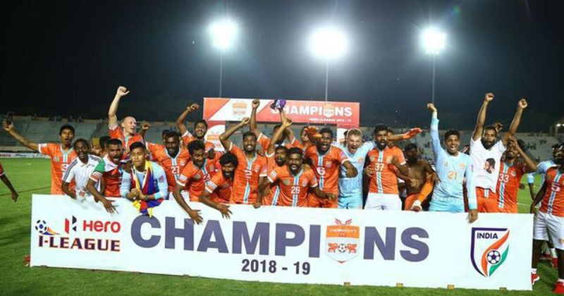 Chennai City FC players celebrate after winning the I-League