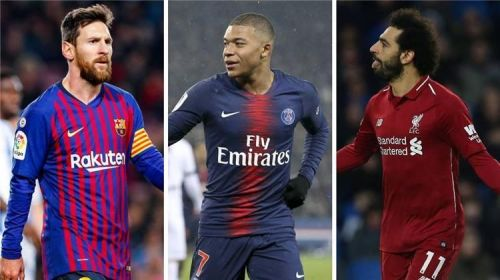 Barcelona's Lionel Messi, Paris Saint Germain's Kylian Mbappe and Liverpool's Mohamed Salah