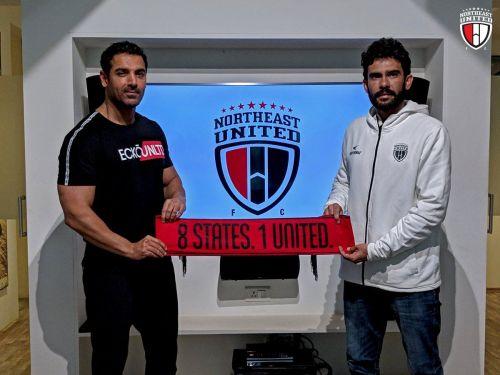 Khalid Jamil with NorthEast United owner John Abraham