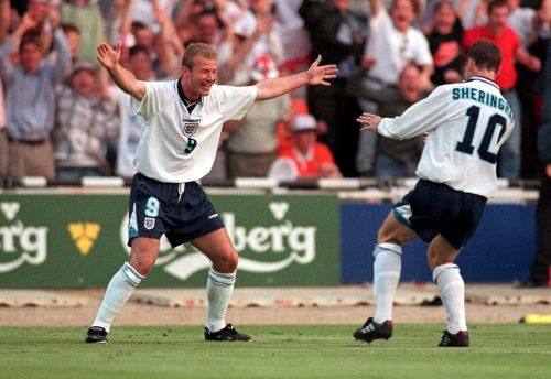 Goals from Alan Shearer and Teddy Sheringham gave England a famous win in their last competitive match against the Netherlands