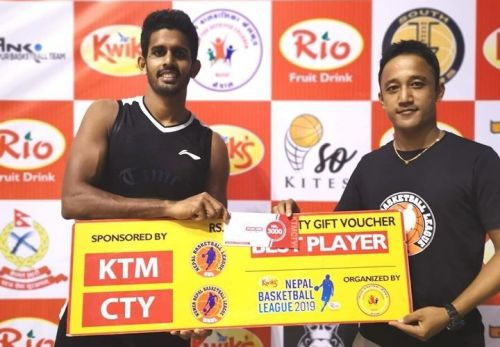 Sri Lankan import Praneeth Udumalagala (L) of Times was declared the Man of the Match