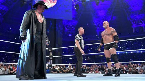 Undertaker and Goldberg at Super ShowDown