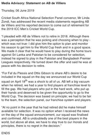 Statement on AB de Villiers, Image Courtesy - Twitter