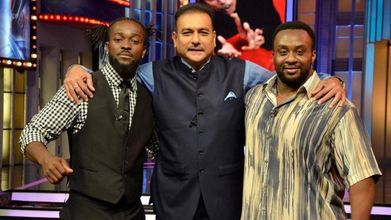 Kofi Kingston and Big E with Ravi Shastri