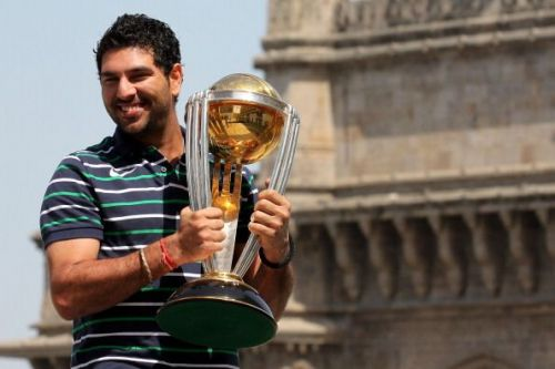 Yuvraj Singh with the 2011 World Cup