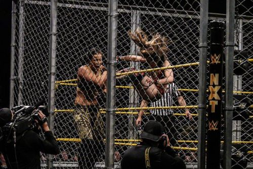 Shayna Baszler sandwiched between Io Shirai and the unforgiving steel cage
