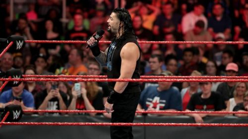 Reigns on the mic (Photo credit: WWE)