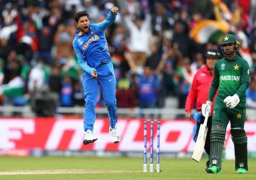 Kuldeep Yadav exults after the wonder ball.