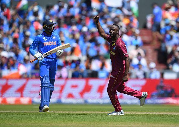 Vijay Shankar departs after his dismissal against the West Indies