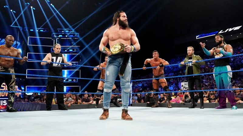 Elias with the 24/7 Championship