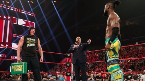 Things are setting up for a Lesnar cash-in on Kingston rather than Seth Rollins.