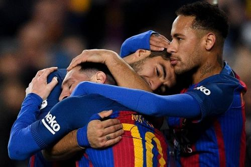 Neymar with Messi and Suarez in his Barcelona days