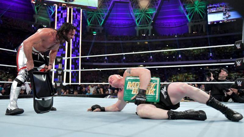 Brock Lesnar and Seth Rollins at Super ShowDown