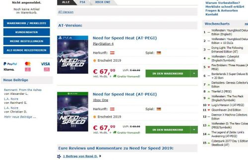 Need for Speed Heat was accidentally posted in the Gameware Store.