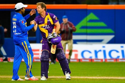 Jonty Rhodes during a Cricket All-Stars Series match at Citi Field
