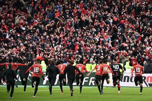 Stade Rennais celebrating their first trophy in 36 years last season