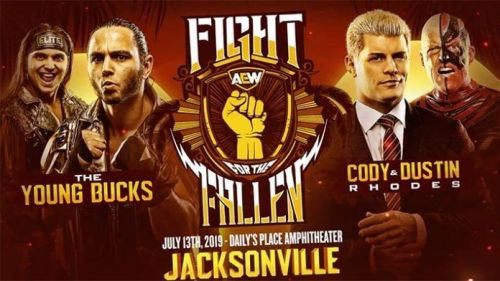 The poster for Fight for the Fallen features The Young Bucks, Cody and Dustin Rhodes. This will likely be the main event for the show.