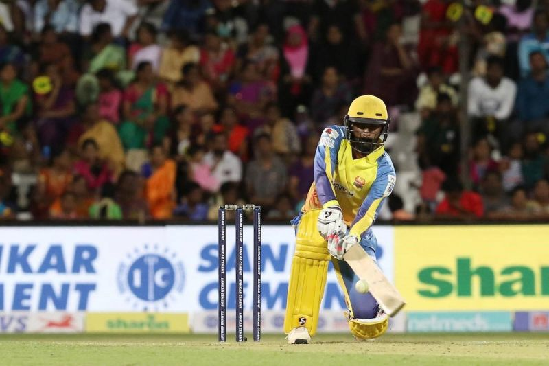 N Jagadeesan of Dindigul Dragons is seen in action