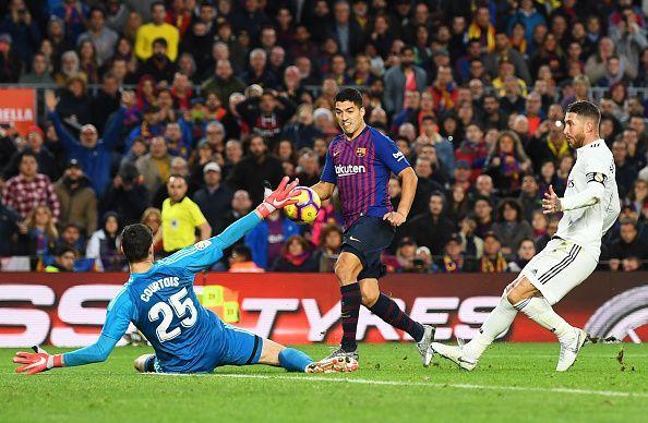 Luiz Suarez scored a hattrick against Real Madrid in the season