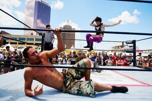Pro wrestling at the Warped Tour in Atlantic City, NJ