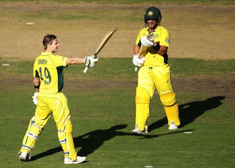 Australian batsman Steven Smith celebrating his century against India