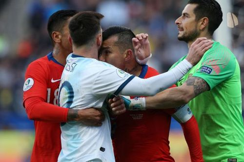 Messi was shown a red card against Chile