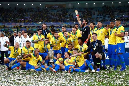 Brazil celebrate with the Copa America trophy.