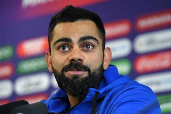 Virat Kohli during the press conference in Manchester on Monday