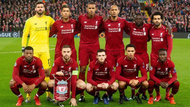 Liverpool squad lining up before a game